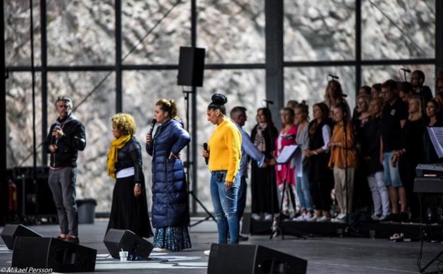 Jakob Stadell, Laila Adèle, Viktoria Tocca och Malena Tuvung repar inför 2019 års konsert på Dalhalla.