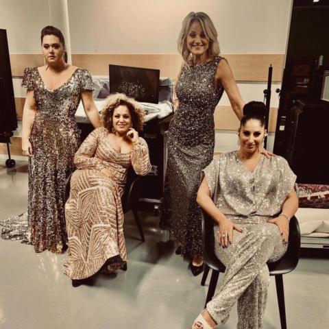Viktoria Tocca, Laila Adèle, Carina E. Nilsson & Malena Tuvung inför konsert i Uppsala 2019.